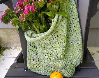 green market bag handknit cotton mesh