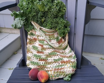 earth tone market bag shoulder straps, hand-knit cotton farmers market tote, reusable ecofriendly artisan made roomy pouch, save the planet