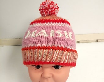Knit baby girl hat with name, personalized baby girl hat, named baby girl hat, handknit girl hat with pompom, bespoke baby shower gift