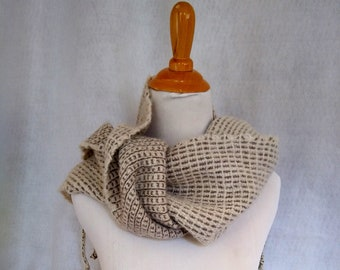 White gray alpaca scarf hand woven for man or woman. Warm loomed scarf for outdoor activities and winter hikes. In stock and ready to ship.
