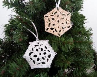 sparkly crochet snowflake white, christmas ornament, beige hexagonal design