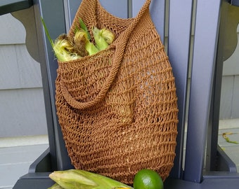 summer carry-all sack with shoulder straps, hand-knit brown cotton mesh farmers market bag, reusable ecofriendly ready to ship roomy pouch
