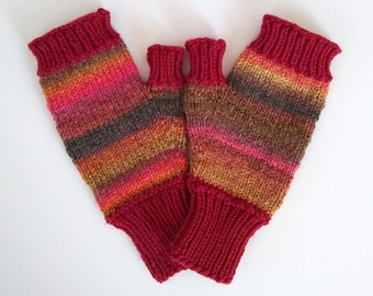 red fingerless mittens handknit