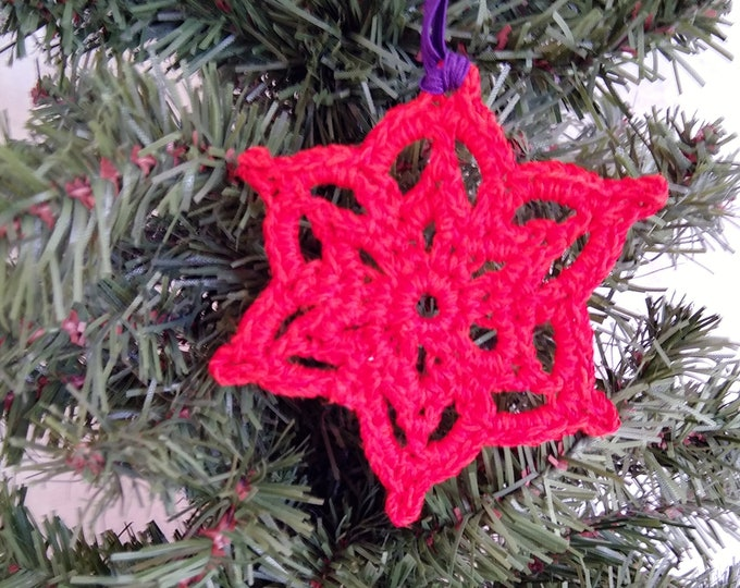 red sparkly snowflake, crochet lace snowflake ornament, red christmas tree decor, winter hostess gift
