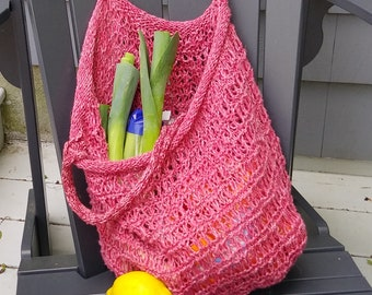 Red handknit mesh shopping tote bag