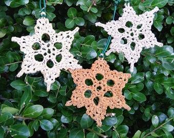 crochet snowflake ornament, retro christmas ornament, winter wedding decor, tree ornament handmade