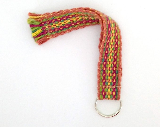 Boho woven keychain in garden colors, inkle band key-fob, hand-woven strap for badge holder, loomed wrist strap ready to ship