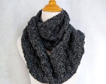 handknit loop scarf gray black, knit winter scarf wool blend, warm cowl infinity scarf,