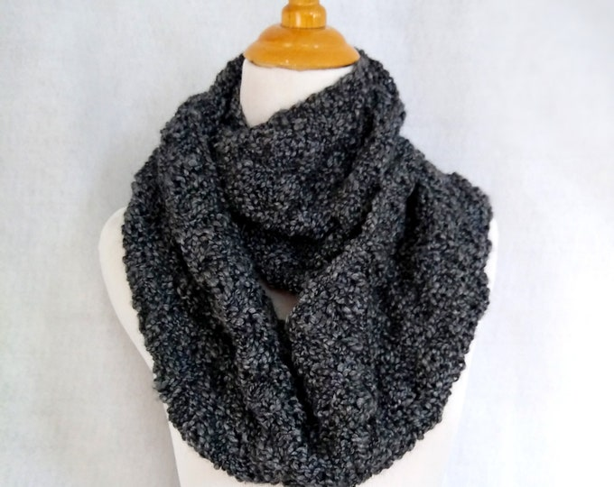 handknit loop scarf gray black, knit winter scarf wool blend, warm cowl infinity scarf,