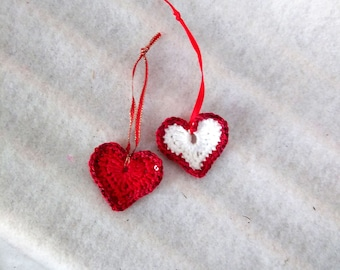crochet hearts red and white with sequin trim, sparkly heart ornament