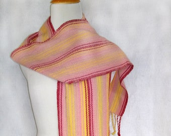 Handwoven zigzag twill striped scarf
