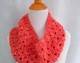 coral loop scarf handknit, soft cowl infinity scarf, luxury gift for girlfriend, cheerful orange knit loop scarf