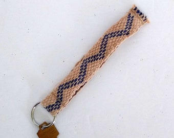 woven lanyard short, cotton wrist strap, handwoven inkle band, artisan key chain, ready to ship, OOAK ID holder strap, gift for guy