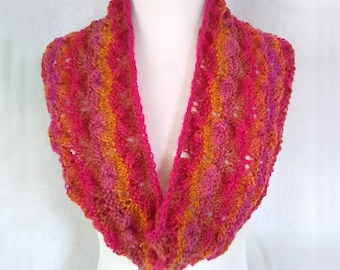 loop scarf hand knit in pink mauve coral light-weight wool yarn, lacy infinity scarf valentine's gift for her