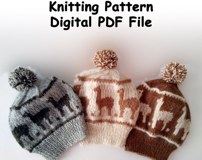 knit alpaca hat pattern, colorwork alpaca beanie knit pattern, DIY winter sports hat, pom pom hat pattern