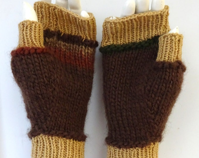 hand-knit 2-tone brown fingerless mittens