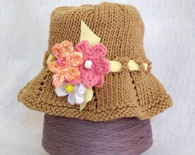child's bucket sun hat with floppy brim, toddler hat, handknit hat ribbon and flower trim, child's beach hat