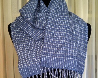 woven blue gray scarf for men women
