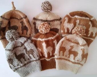 knit alpaca pompom beanie,