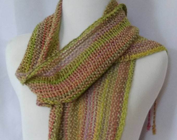 Green tan scarf summer woven scarf summer lace scarf  handwoven scarf garden loomed scarf lace gift for her ooak cotton woven scarf