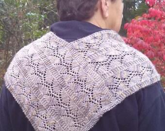 knit pattern lace scarf, vine lace scarf pattern knit, lacy v-back scarf pattern, leaf pattern knit lace scarf