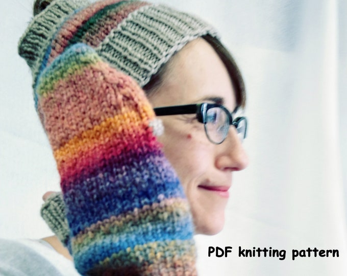 knit ponytail hat and mitten pattern, finger-flap mitten pattern knit, winter knit pattern, mittens and headband
