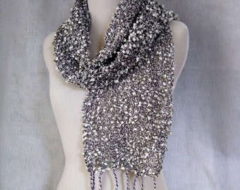 white and black scarf handwoven lightweight mesh loomed open weave scarf for woman