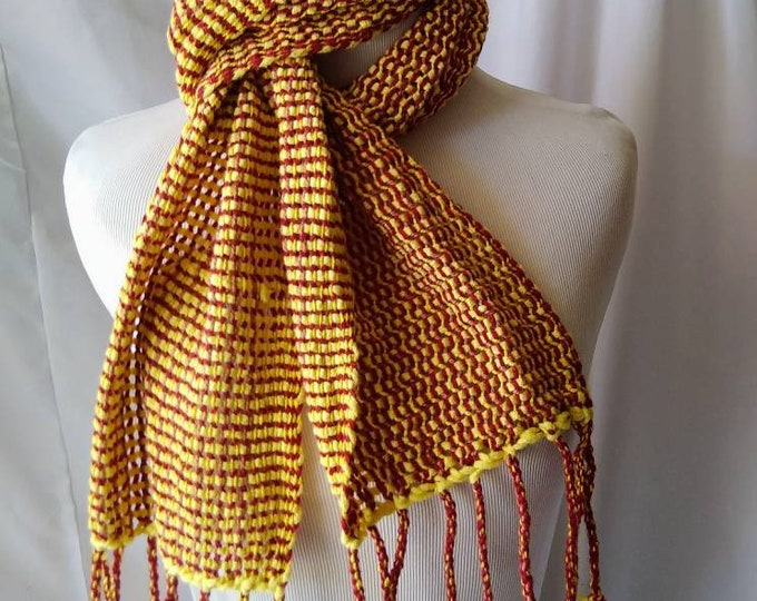 Red yellow mesh lace scarf lightweight loomed lace scarf  handwoven lace scarf summer bright color scarf gift for her ooak cotton weave