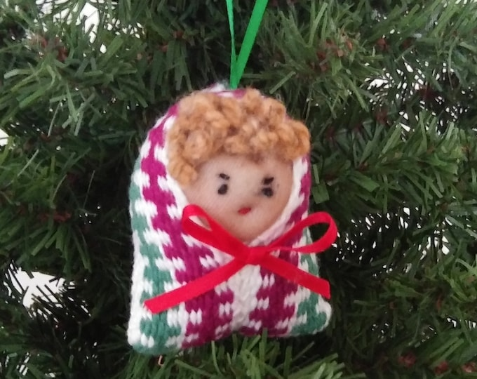 woven elf ornaments, little xmas people, handwoven inkling, christmas ornament