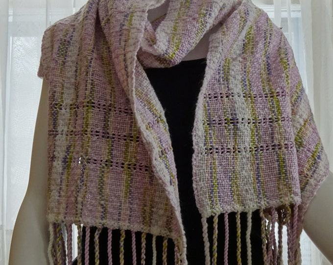 handwoven shawl spring colors pastel color stole bridal accessory evening wrap woven stole summer spring OOAK hand woven shawl pale colors