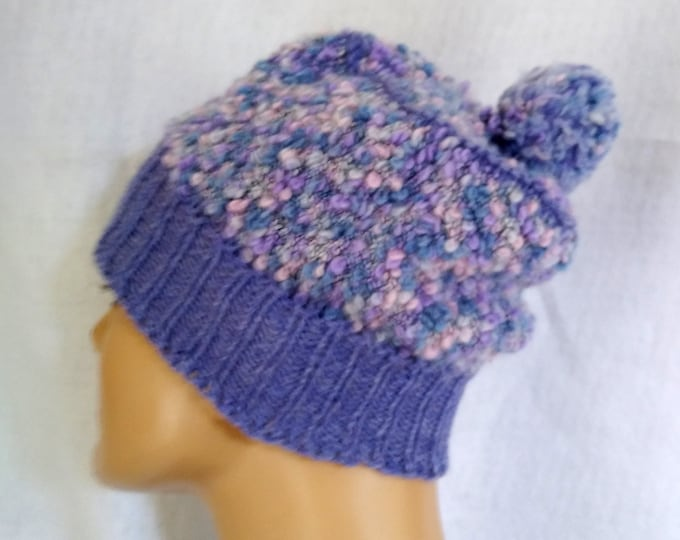 ultra violet hat hand-knit with pompom hand-knit tam purples