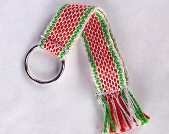 white red green woven bracelet strap