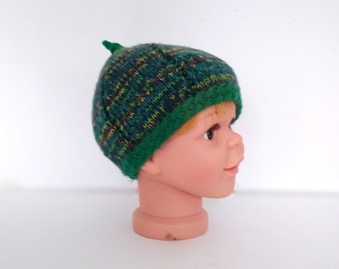 handknit striped green beanie for child, leprechaun hat for St Patricks Day, in stock item and ready to ship.