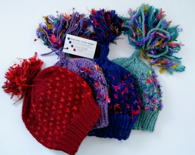 knit-to-order pompom beanie hat with bling, custom knit winter pompom hat for outdoor walks