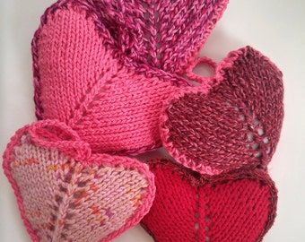 Red pink hand knit heart ornament   holiday heart   soft heart   stuffed heart ornament   hand-knit squeezable heart   hanging heart