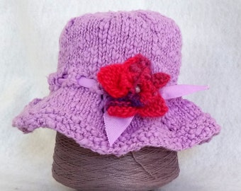 lilac baby bucket hat handknit, sunhat for child purple, cotton knit hat for baby