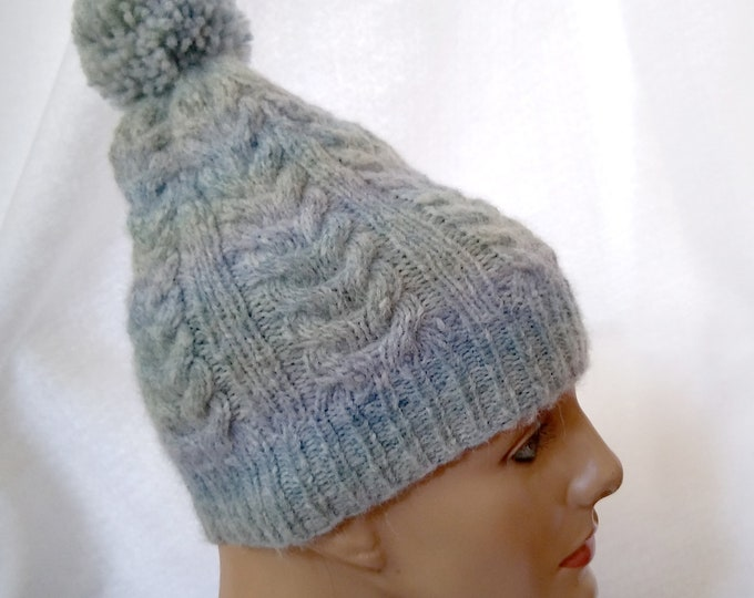 cable knit beanie blue alpaca, handknit blue pompom hat with cables, casual winter sports hat