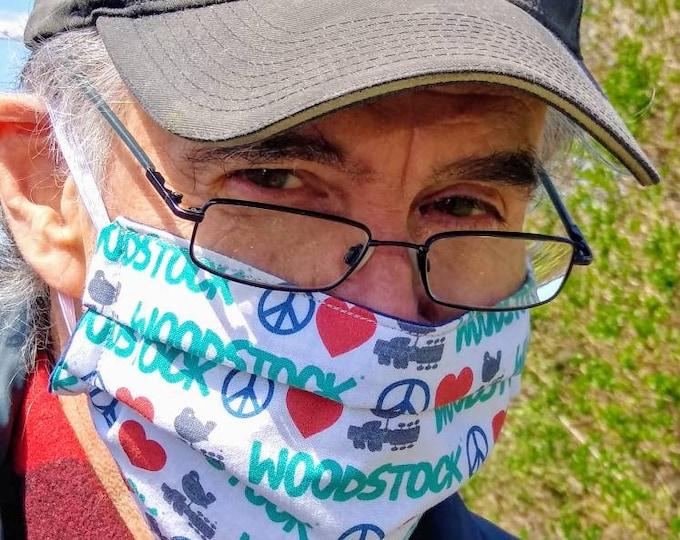 cotton face mask, washable reusable reversible double layer mask