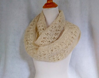 white alpaca loop scarf hand-knit for outdoor warmth