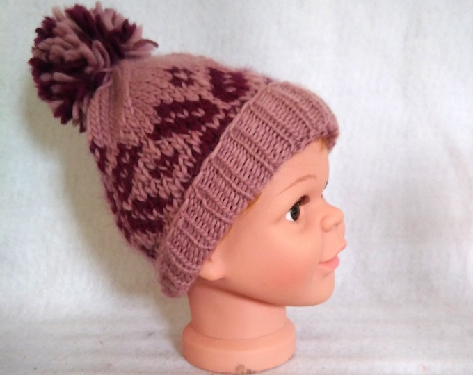 nordic snowflake hat, wool sports hat handknit