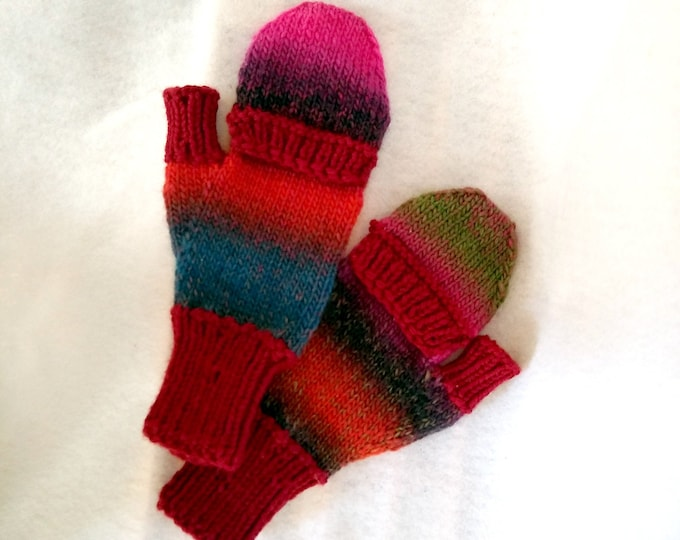 handknit finger flap mittens, retractable finger cover mitts, colorful glittens, winter commuter mittens