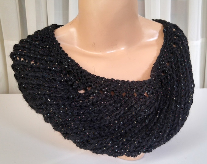 black lace loop scarf handknit infinity scarf alpaca silk acrylic sparkly scarf party scarf evening loop scarf gift  for her luxury fiber