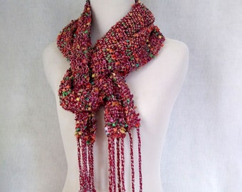 red scarf woven lace, hand-woven lace scarf, red gray mesh scarf, scarf hand-loom lace, gray red woven scarf, gift for her, handmade OOAK