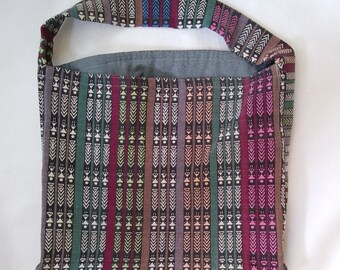 Lined tote bag with shoulder strap, handwoven Mayan fabric