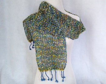 blue and chartreuse handwoven scarf mesh lace hand-loom light sparkly scarf for girlfriend gift