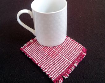 gray red striped sparkly coaster, handwoven mug rugs, loomed cotton coaster, felt-backed sparkly center table protector,