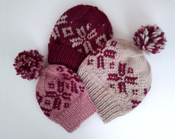 custom knit snowflake hat in 3 sizes, winter pompom hat, nordic style wool hat knit to order , gift under 50, valentines day