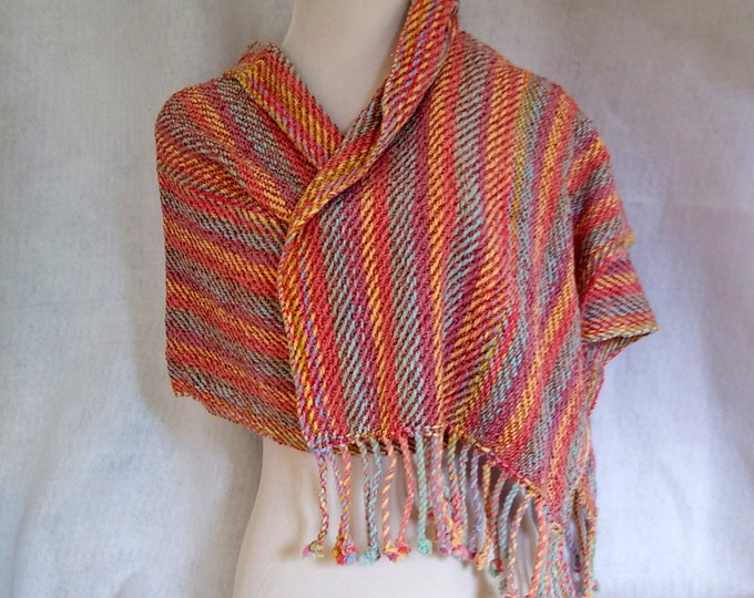 handwoven shawl desert color stripes, loomed shawl chenille, striped shawl coral and tan