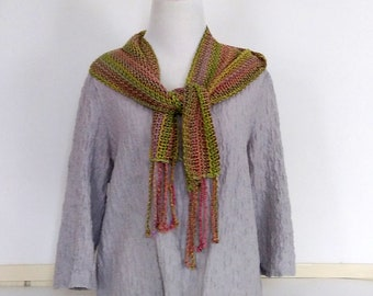 Handwoven summer scarf in green and tan mesh lace