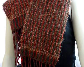 woven winter scarf, red and brown scarf, hand-loomed scarf, lightweight scarf, brown red scarf, gift for her, holiday gift, christmas gift